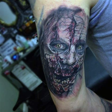 real looking tattoos realistic looking colored horror style arm of