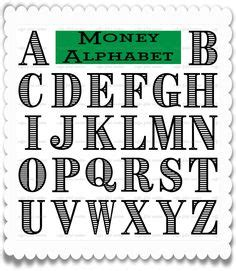 printable alphabet money hamilton svg alphabet digital cut file digital letters
