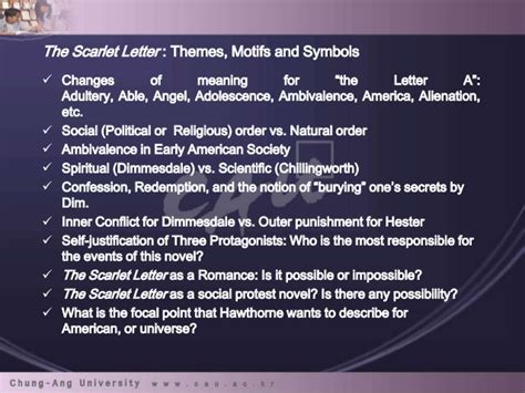 possible themes of the scarlet letter the scarlet letter hawthorne