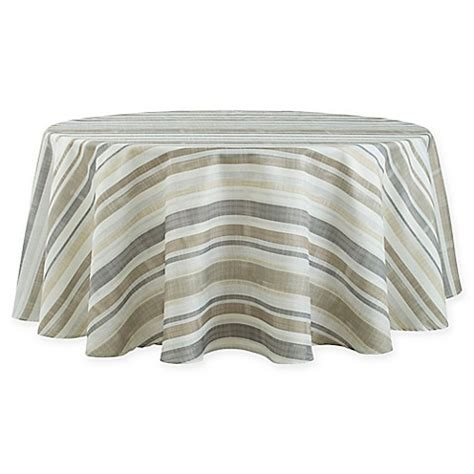 bed bath beyond tablecloths basics neutral stripe 70 inch round tablecloth bed bath