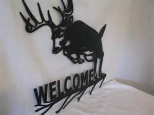 whitetail deer jumping 002 large welcome metal wildlife