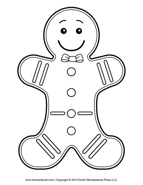 Gingerbread Man Template Clipart Coloring Page For Kids Coloring Pages Gingerbread