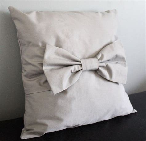 big bow tie pillow cover silver gray any size any