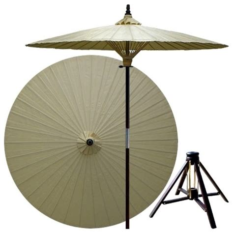 Bamboo Patio Umbrella 7 Ft Vanilla Patio Umbrella W Bamboo St Asian Outdoor Umbrellas By Ivgstores