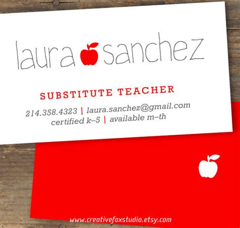 substitute business cards templates free business cards for teachers 51 free psd format