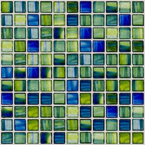 Handmade Glass Tiles - swirl handmade glass tile green and blue sheet