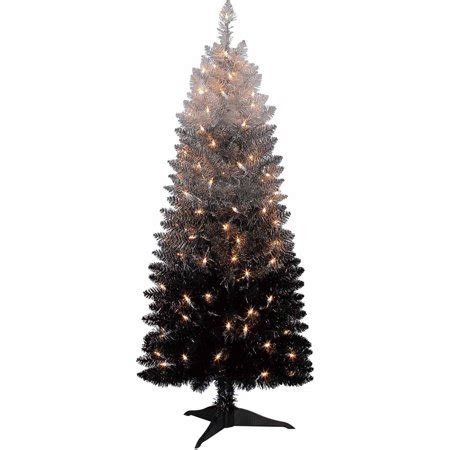 9 silver christmas tree time pre lit 4 cordova tree silver black clear lights walmart