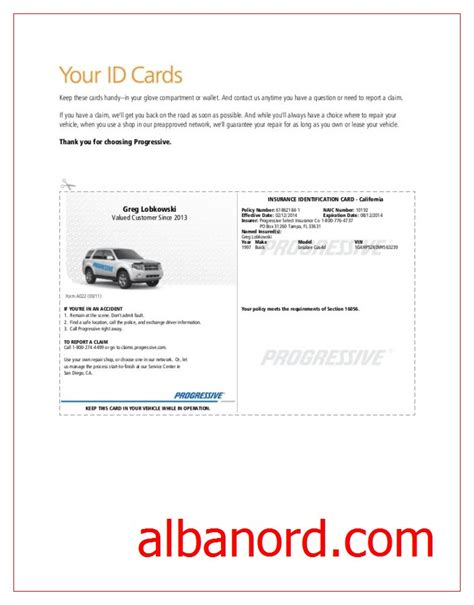 how to make insurance card progressive insurance card template albanord