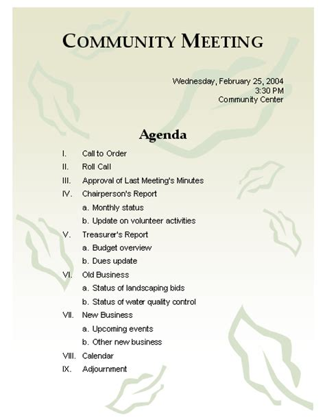 conference agenda template format exle