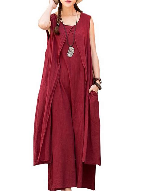 Casual Maxi casual sleeveless o neck solid color maxi dress