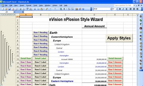 nvision layout definition using style sheets with nplosion layouts