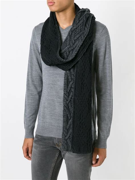 grey knit scarf moncler gray cable knit scarf for lyst