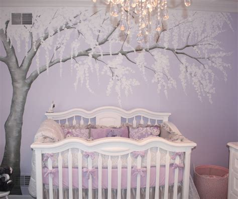 purple baby room sparkly cherry blossom nursery project nursery