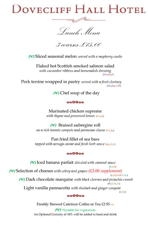 table lunch menu set menu lunch table d hote