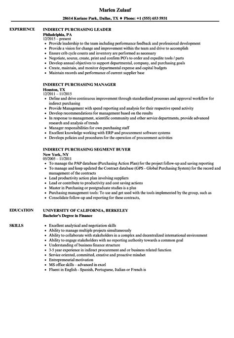 Purchasing Resume by Indirect Purchasing Resume Sles Velvet