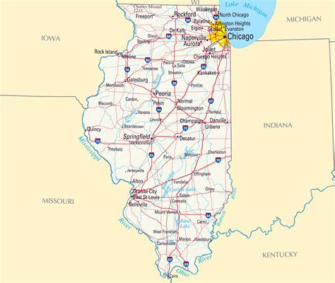 map of illinois large roads and highways map of illinois with relief and