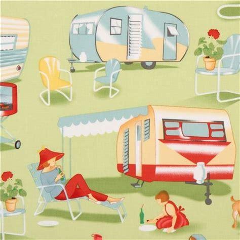 Ballard Designs Lamp Shades light green retro fabric camping trailer michael miller