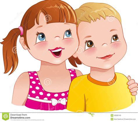 imagenes de up girl hug a boy cute kids looking up and smiling happily
