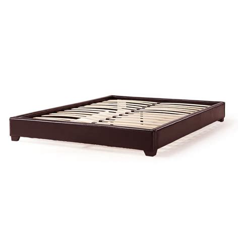 Leather Platform Bed Frame California King Size Upholstered Brown Faux Leather Platform Bed Frame Fastfurnishings