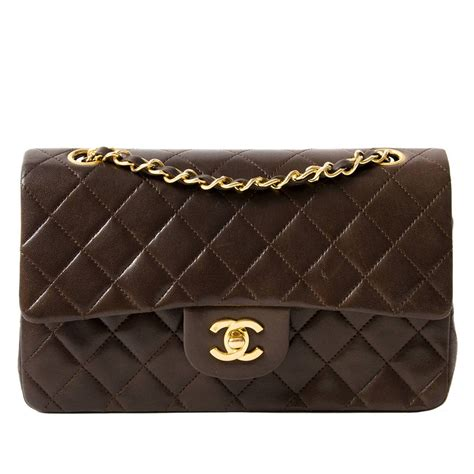 chanel bag chanel small classic flap bag in chocolate brown ghw at