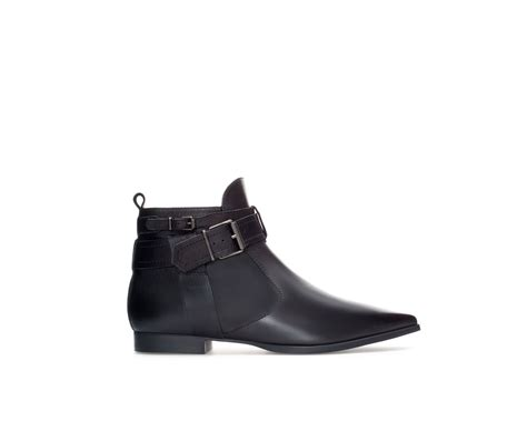 zara leather pointed ankle boot in black lyst