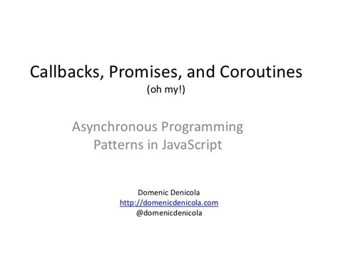 promise pattern node js callbacks promises and coroutines oh my asynchronous