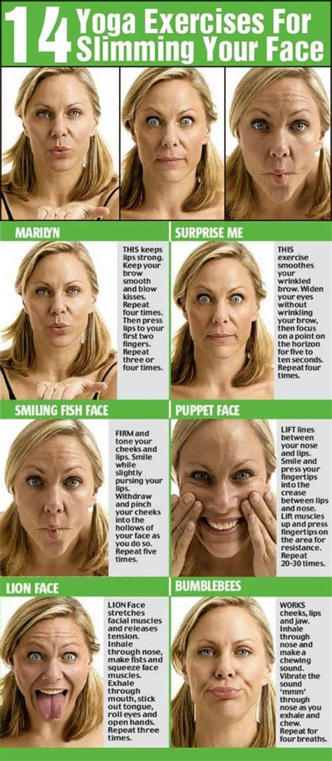tutorial yoga facial lose face fat double chin cheek fat exercises tips