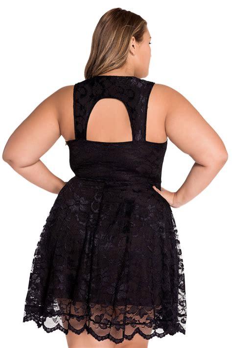 flattering black lace party skater mini dress   xl