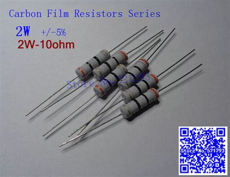 cost of carbon resistor 2w 10 ohm 5 resistor 2w 10r ohm carbon resistor 5 2w color ring resistance 50pcs
