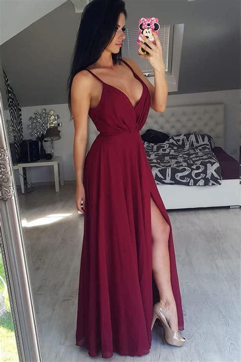 spaghetti straps burgundy  neck prom dresssexy slit