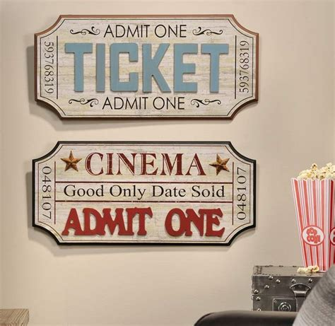 home movie theater wall decor vintage theater movie ticket wall plaque home decor accent