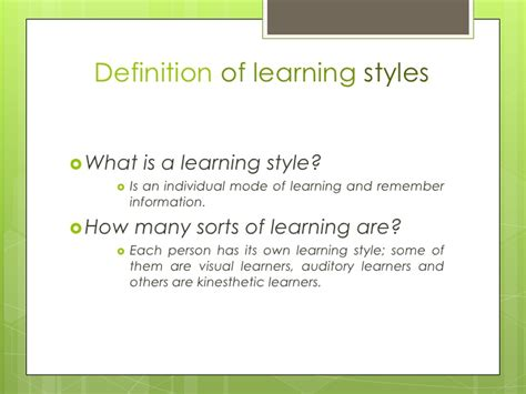 definition of style kinesthetic learning type