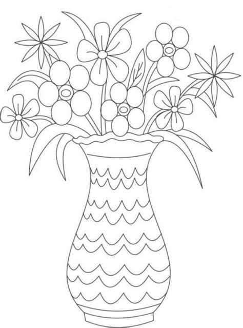 coloring pages of flowers in a vase vase and flowers coloring page coloring home