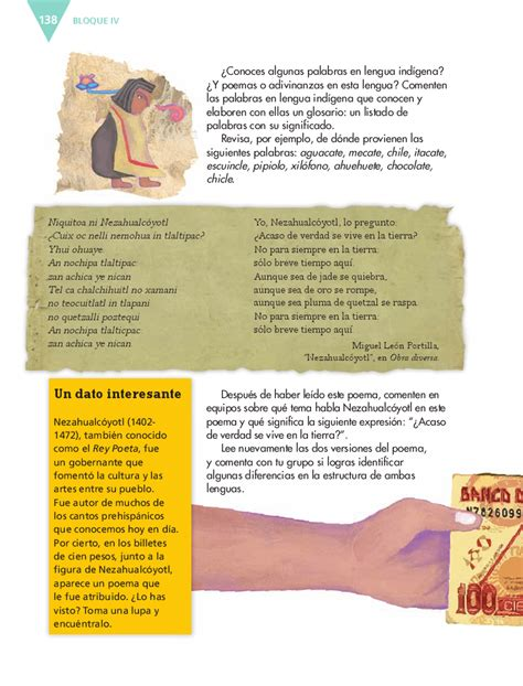 libro espagnol 100 thme sexto espa 241 ol14 bloque 4 conocer una canci 243 n de los pueblos originarios de m 233 xico