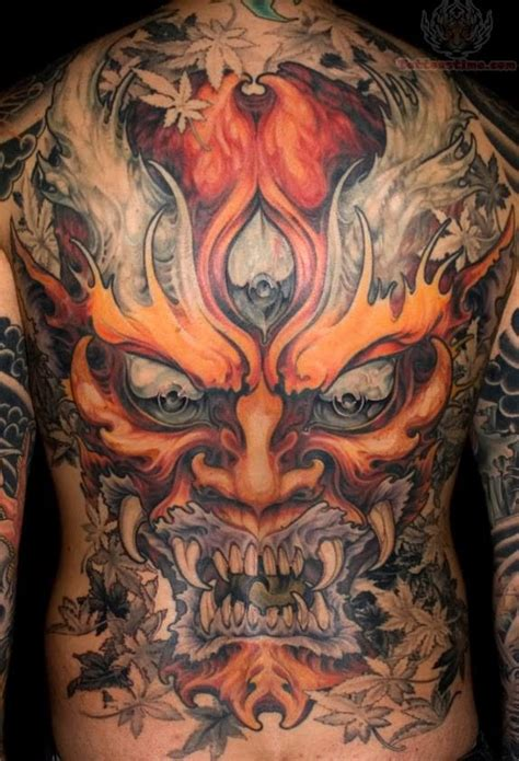 chinese hannya mask tattoo back tattoo images designs