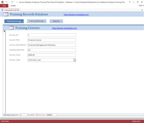 employee training plan and record access database