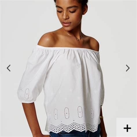 Elly Blouse Diskon 55 loft tops eyelet the shoulder blouse from