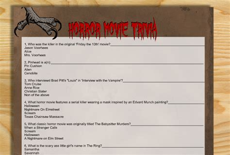 13 free horror movie trivia quizzes and games free printable horror movie trivia quiz