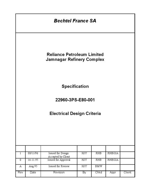 design criteria document electrical design criteria