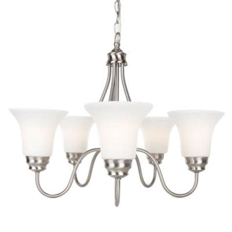 Dining Room Chandeliers Home Depot Commercial Electric 5 Light Brushed Nickel Reversible
