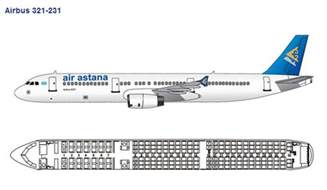 air astana airlines airbus a321 200 aircraft seating chart