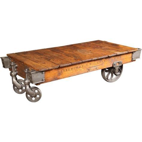 vintage wood cart coffee table vintage industrial wood cast iron steel rolling factory