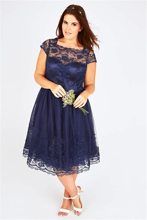 Dress Brukat Navy chi chi navy sweetheart embroidered mesh