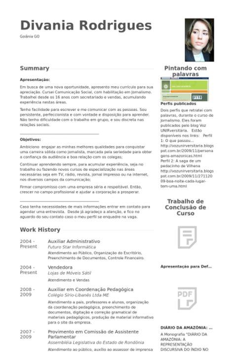 Modelo Curriculum Vitae Administrativo Auxiliar Administrativo Exemplo Cv Visualcv Retomar Amostras De Banco De Dados