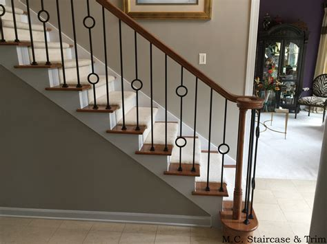 banisters and handrails installation after the iron baluster upgrade from m c staircase trim