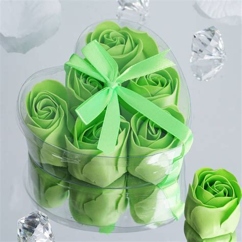 Bath Flower Green 6 pack apple green scented flower bath shower soap