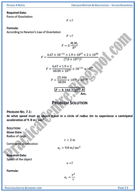 Practical Centre Circular Motion And Gravitation Solved