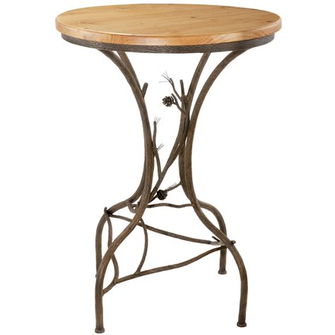 Rustic Bar Table Pictured Here Is The Rustic Pine Bar Height Table With Textured Wrought Iron Branch Base And A