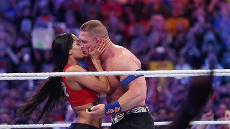nikki bella on john cena john cena and nikki bella get engaged at wrestlemania 33
