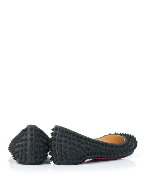 spike flat shoes christian louboutin pigalle spike flat shoes in gray lyst